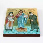 Преподобные Порфирий Кавсокаливит и Паисий Святогорец, доска 20*25 см - Иконы