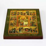 Святитель Николай Чудотворец с житием, икона на доске 20*25 см - Иконы