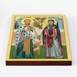 Священномученик Киприан и мученица Иустина, икона на доске 20*25 см - Иконы