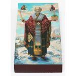 Святитель Николай Чудотворец на зимнем фоне, икона на доске 7*13 см - Иконы