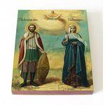 Александр Невский и царица Александра Римская, доска 8*10 см - Иконы