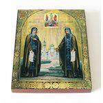 Преподобные Сергий и Герман, Валаамские чудотворцы, доска 8*10 см - Иконы