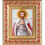 Благоверный князь Александр Невский, рамка с узором 14,5*16,5 см - Иконы