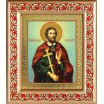 Великомученик Иоанн Новый Сочавский, рамка с узором 14,5*16,5 см - Иконы