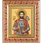 Мученик Иоанн Воин, икона в рамке с узором 14,5*16,5 см - Иконы