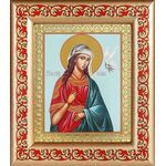 Великомученица Ирина Македонская, икона в рамке с узором 14,5*16,5 см - Иконы