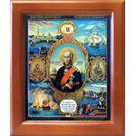 Праведный Феодор Ушаков со сценами жития, икона в рамке 12,5*14,5 см - Иконы