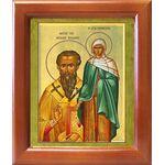 Василий Великий и Емилия Кесарийская, икона в рамке 12,5*14,5 см - Иконы