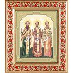 Собор трех святителей, икона в рамке с узором 14,5*16,5 см - Иконы