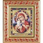 Жировицкая икона Божией Матери, широкая рамка с узором 14,5*16,5 см - Иконы