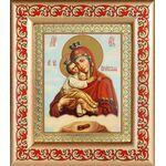 Почаевская икона Божией Матери на облаке, рамка с узором 14,5*16,5 см - Иконы