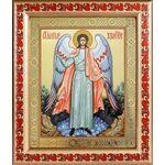 Ангел Хранитель, икона в широкой рамке с узором 19*22,5 см - Иконы