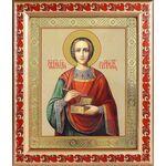 Великомученик и целитель Пантелеимон, икона в рамке с узором 19*22,5см - Иконы