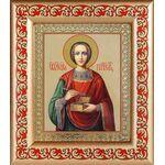 Великомученик и целитель Пантелеимон, рамка с узором 14,5*16,5 см - Иконы