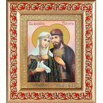 Благоверные Петр и Феврония с голубем, рамка с узором 14,5*16,5 см - Иконы