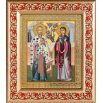 Священномученик Киприан и мученица Иустина, рамка с узором 14,5*16,5 см - Иконы