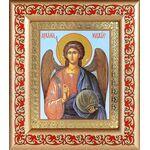 Михаил Архангел, Архистратиг, икона в рамке с узором 14,5*16,5 см - Иконы