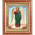 Ангел Хранитель на голубом фоне, икона в рамке с узором 19*22,5 см - Иконы