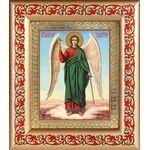 Ангел Хранитель на голубом фоне, икона в рамке с узором 14,5*16,5 см - Иконы