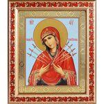 Икона Божией Матери «Семистрельная», рамка с узором 19*22,5 см - Иконы