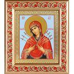 Икона Божией Матери «Семистрельная», рамка с узором 14,5*16,5 см - Иконы