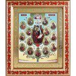Древо Пресвятой Богородицы, икона в широкой рамке с узором 19*22,5 см - Иконы