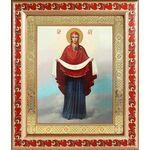 Покров Пресвятой Богородицы, икона в рамке с узором 19*22,5 см - Иконы