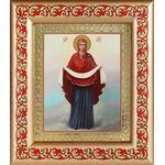 Покров Пресвятой Богородицы, икона в рамке с узором 14,5*16,5 см - Иконы