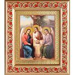 Святая Троица, икона в рамке с узором 14,5*16,5 см - Иконы