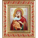 Владимирская икона Божией Матери, рамка с узором 14,5*16,5 см - Иконы