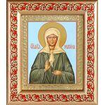 Блаженная Матрона Московская в зеленом, рамка с узором 14,5*16,5 см - Иконы