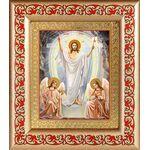 Воскресение Христово, икона в широкой рамке с узором 14,5*16,5 см - Иконы