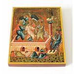 Мученики Анания, Азария и Мисаил в пещи огненной, доска 13*16,5 см - Иконы