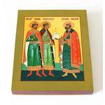 Благоверные князья Борис, Глеб и Роман, икона на доске 13*16,5 см - Иконы