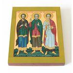 Мученики и исповедники Гурий, Самон и Авив, икона на доске 13*16,5 см - Иконы