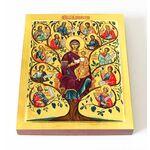 """Икона Божией Матери """"Древо Иессеево"""", печать на доске 13*16,5 см - Иконы"""