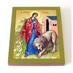 Мученица Татиана Римская со львом, икона на доске 13*16,5 см - Иконы