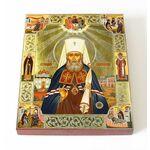 Святитель Филарет Московский с житием, икона на доске 13*16,5 см - Иконы