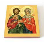 Мученики Адриан и Наталия Никомидийские, икона на доске 14,5*16,5 см - Иконы