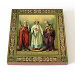 Мученики и исповедники Гурий, Самон и Авив, икона на доске 14,5*16,5см - Иконы
