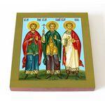 Мученики и исповедники Гурий, Самон и Авив, печать на доске 14,5*16,5 - Иконы