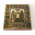 Преподобные Димитрий и Игнатий Прилуцкие, икона на доске 14,5*16,5 см - Иконы
