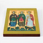 Мученики и исповедники Гурий, Самон и Авив, икона на доске 20*25 см - Иконы
