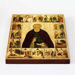 Преподобный Димитрий Прилуцкий с житием, икона на доске 20*25 см - Иконы