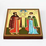 Благоверные князья Петр и Феврония Муромские, печать на доске 20*25 см - Иконы