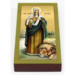 Мученица Татиана Римская со львом, икона на доске 7*13 см - Иконы