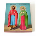Мученики Адриан и Наталия Никомидийские, икона на доске 8*10 см - Иконы