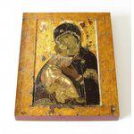 Владимирская икона Божией Матери, XII в, доска 8*10 см - Иконы