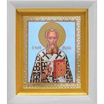 Святитель Григорий Богослов, икона в белом киоте 14*16 см - Иконы