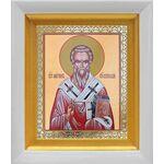 Святитель Мирон Критский, белый киот 14*16 см - Иконы